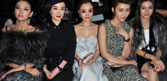 PARIS, FRANCE - MARCH 02:  Huo Siyan, guest, Peng Lin, Li Xiao Lu and guest attend the Christian Dior Ready-To-Wear Fall/Winter 2012 show as part of Paris Fashion Week at Musee Rodin on March 2, 2012 in Paris, France.  (Photo by Pascal Le Segretain/Getty Images)
